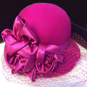 Mingli Tengda благородная Роза Красный цветок Марля формальная шляпа теплый таз шляпа госпожа Грация шерсть шапка Свадебные аксессуары Клетка ву...