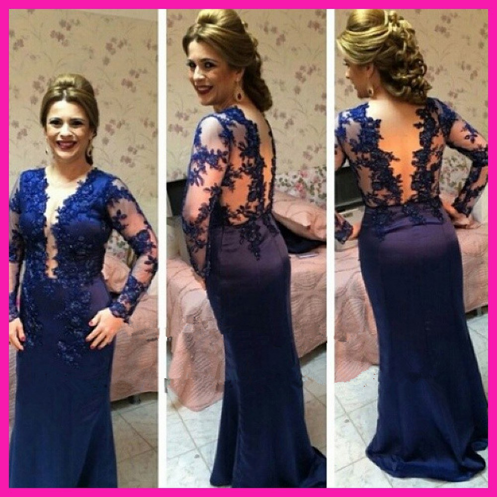 2019 Sexy Royal Blue Lace V Neck Backless Abiye Long Sleeve Mermaid Formal Prom Dresses Vestido Robe De Soiree Evening Dress
