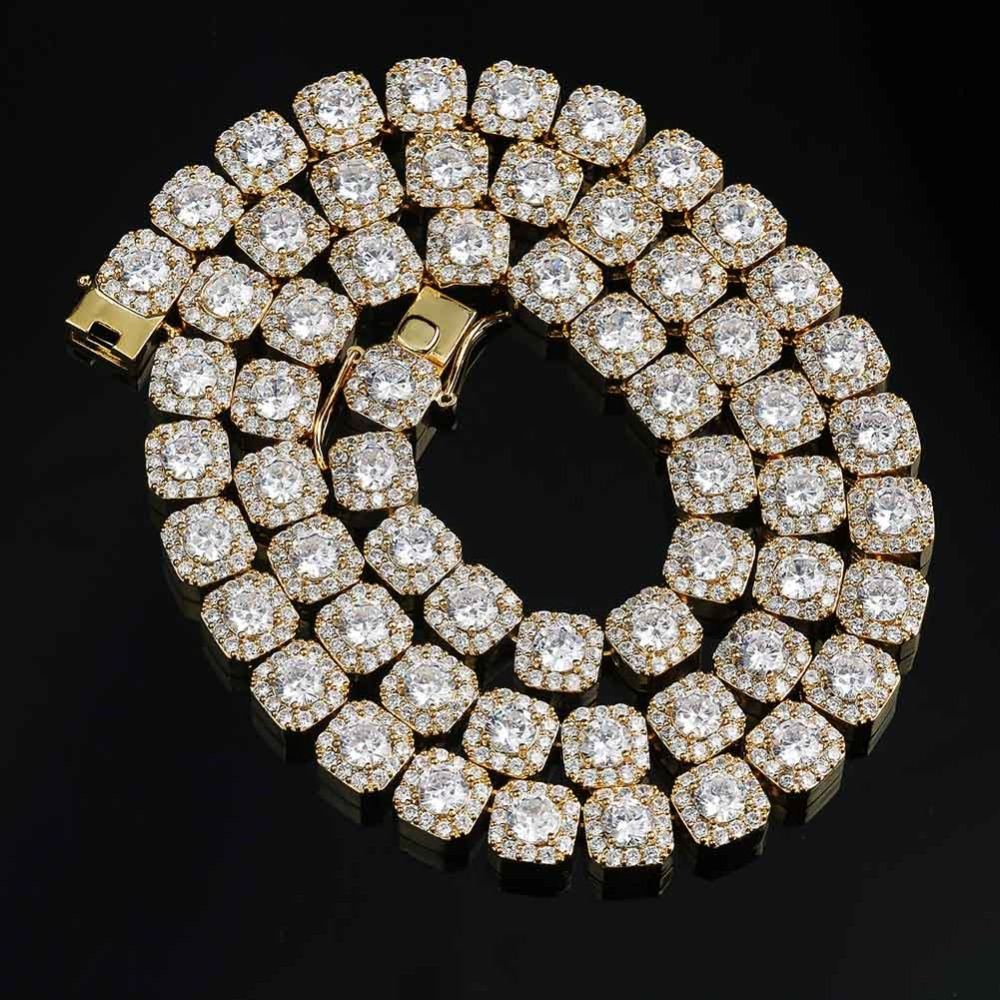 Hip Hop Bling Tennis chaîne glacé collier or/argent mode hommes rappeur 10mm cubique zircone bijoux