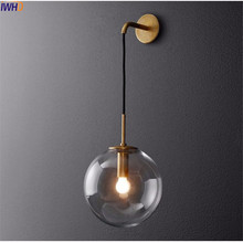 IWHD Creative Glass Ball LED Wall Lamp Modern Retro Mirror Light Vintage Nordic Bathroom Lights Fixtures For Home Lighting