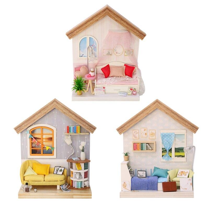 mini doll house miniatures living room diy dollhouse books miniature kit wooden house for children furnitures maison de poupee