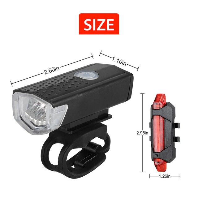 Luz da bicicleta usb recarregável 300 lumens luz da bicicleta led dianteiro farol traseiro lanterna traseira ciclismo luz de advertência 3