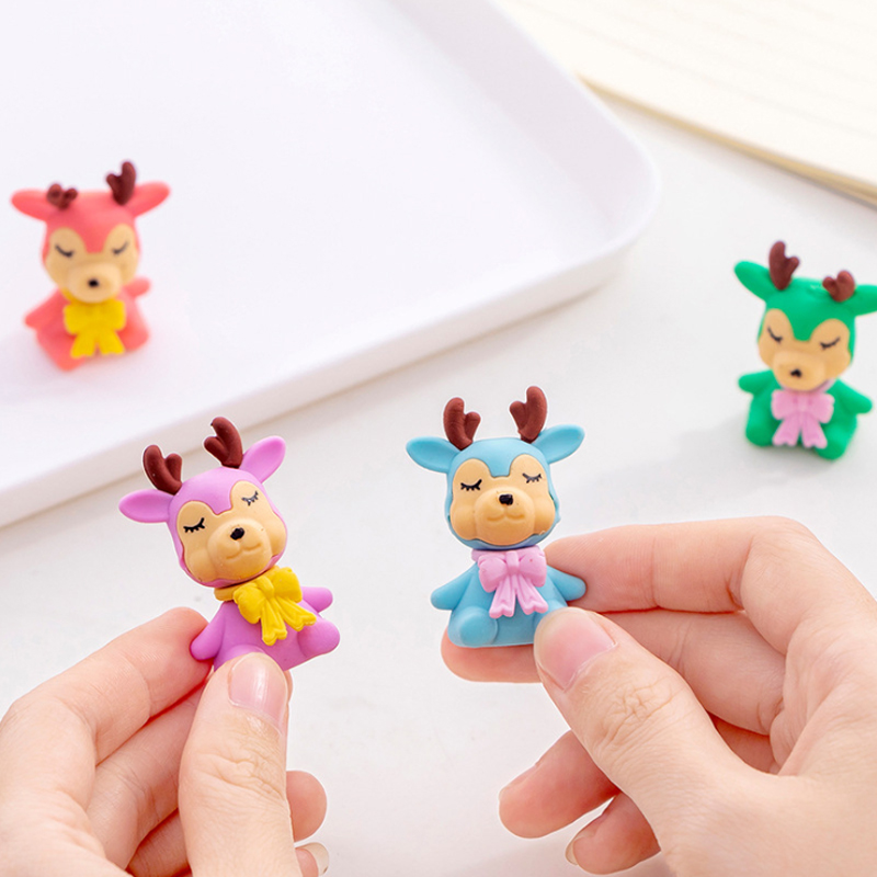 4pcs/lot Kawaii Cartoon Deer Escolares Borrador School Offices Material Escolar Papelaria Pencils Eraser For Kids Stationery