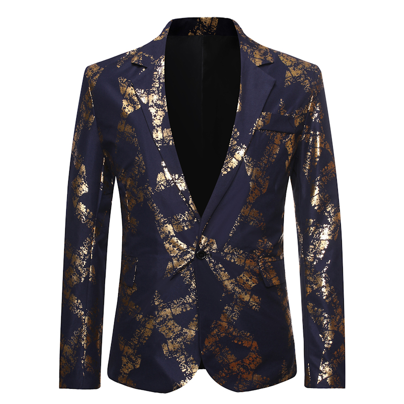Mens Fashion Dance Blazer Coats 2019 Male Pattern Business Affairs Wedding Stage Long Sleeve Suit Jackets Slim Coat S-2XL
