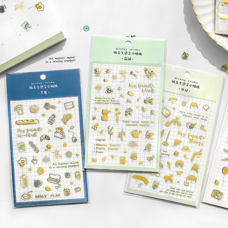 2 Sheets My Favorite Things Gilding Stickers Set Gold Foil Plant Travel Breakfast Daisy Sticker Decoration DIY Diary Gift A6479