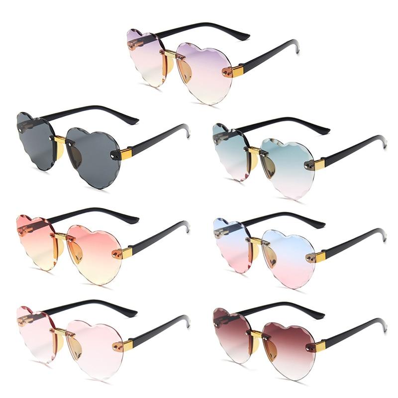 Sunglasses Rimless Girls Boys Kids Children Fashion New Heart Pink Cute Gray Red UV400