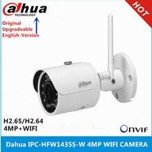 original Dahua English version IPC HFW1435S W 4MP IR30M IP67 built in SD Card slot Bullet Wi Fi Network IP Camera support p2p