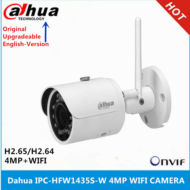 original Dahua English version IPC HFW1435S W 4MP IR30M IP67 built in SD Card slot Bullet Wi Fi Network IP Camera support p2p