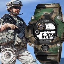 SYNOKE Relogio Masculino военные многофункциональные спортивные часы цветной светодиодный Будильник цифровой двойной механизм наручные часы задний светильник