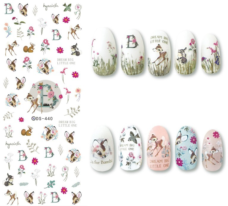 Water Shift Flower Stickers Nail Sticker New Style Flower MORI Series Deer Watermark Stickers To Bubble Water Sticker Diamond DS