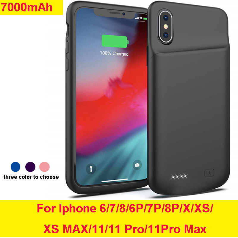 Silicone Shockproof <font><b>Battery</b></font> Charge <font><b>Case</b></font> Power <font><b>Bank</b></font> for <font><b>Iphone</b></font> 11/11 pro/MAX/X/XS/XR/6/<font><b>7</b></font>/8/6P/7P/8P image