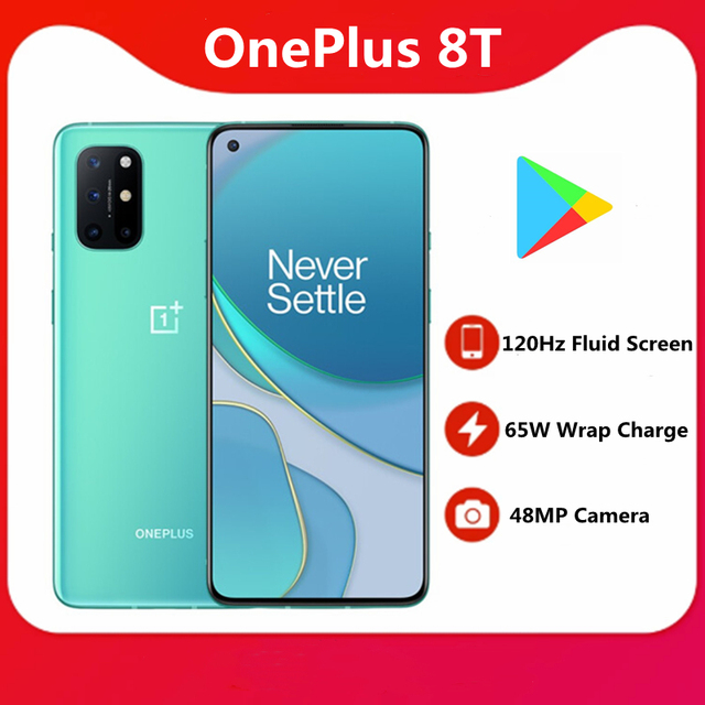 In Stock Oneplus 8T 65W Super Charger 4500mAh Battery 120HZ Screen Snapdragon 865 NFC 6.55 inch 48MP Smart Phone 1