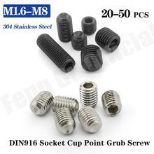 Hex-Socket-Set Screws Stainless-Steel M2 M2.5 DIN916 M8 M1.6 M5 M6 M3 M4 304-Grade 20/10pcs