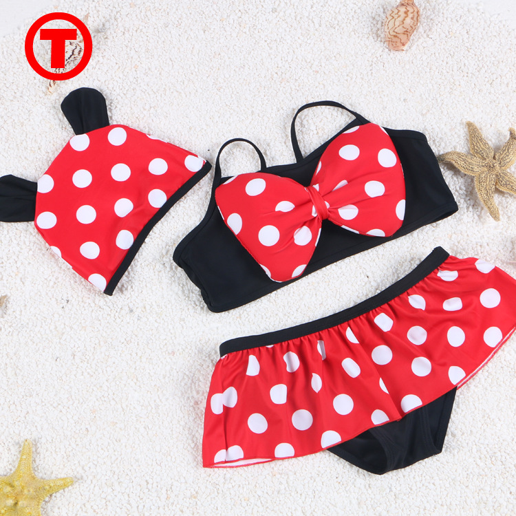 2017 New Style Bathing Suit Tour Bathing Suit Girls Bow Split Type Bikini Two-Piece Set CHILDREN'S Swimsuit 6867