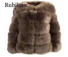 Rubilove Women Warm Real Fox Fur Coat Short Slim Winter Jacket Fashion Outwear Luxury Natural For