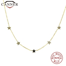 цена на Simple INS 925 Sterling Silver Choker Gold Silver Chain Star Pendant Short Necklaces For Women Charming Zircon Necklace Jewelry