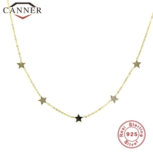 Simple INS 925 Sterling Silver Choker Gold Silver Chain Star Pendant Short Necklaces For Women Charming Zircon Necklace Jewelry