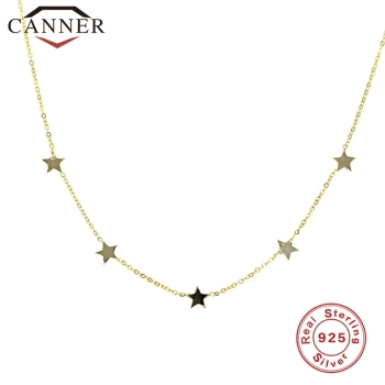 Simple INS 925 Sterling Silver Choker Gold Chain Star Pendant Short Necklaces For Women Charming Zircon Necklace Jewelry - discount item  35% OFF Fine Jewelry