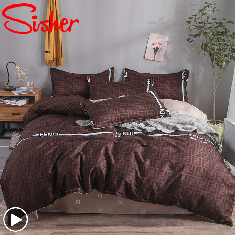 Sisher Fashion Bedding Set Cotton Bed Linen Pattern Simplicity Bed Sheet Quilt Cover Pillowcase 3/4pcs King Single Queen Double