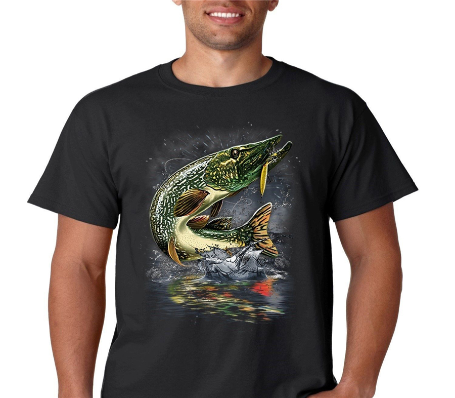 Jumping Pike Muskie <font><b>Wilderness</b></font> Angler Fisherman Catch Bait Fishing Tops Tee <font><b>T</b></font> <font><b>Shirt</b></font> Cool Gift Personality <font><b>T</b></font>-<font><b>Shirt</b></font> image