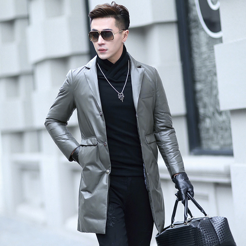 New Men's Leather Down Coat Male Long Suit Collar Slim Sheepskin Down Jacket Light, Thin and Warm Men Winter Leather Coats