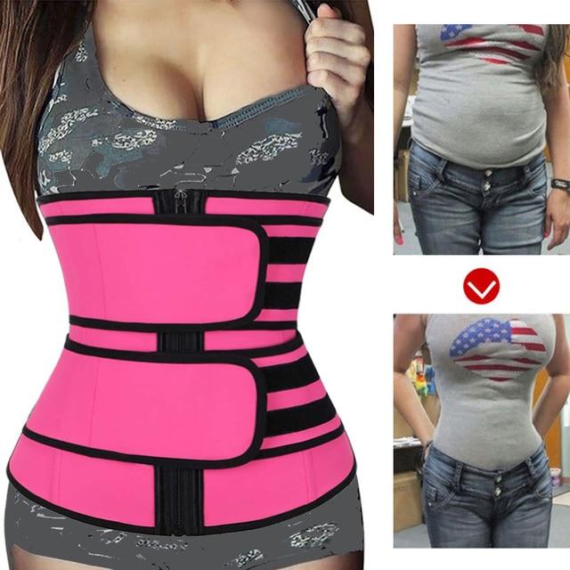 CXZD 2020 New women Waist Trainer Fitness Sauna Sweat Neoprene Slimming Belt Girdle Shapewear Modeling Strap Zipper Body Shaper 4