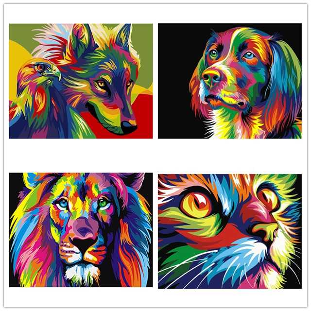 NEW DIY Framed Lion Dog Cat Wolf Oil Painting By Numbers Animal Anime Colorful Paint Wall Art Picture for Living Room Home Decor