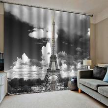 Grey blackout romantic tower curtains 3D Curtain Luxury Blackout Window Curtain Living Room цена в Москве и Питере