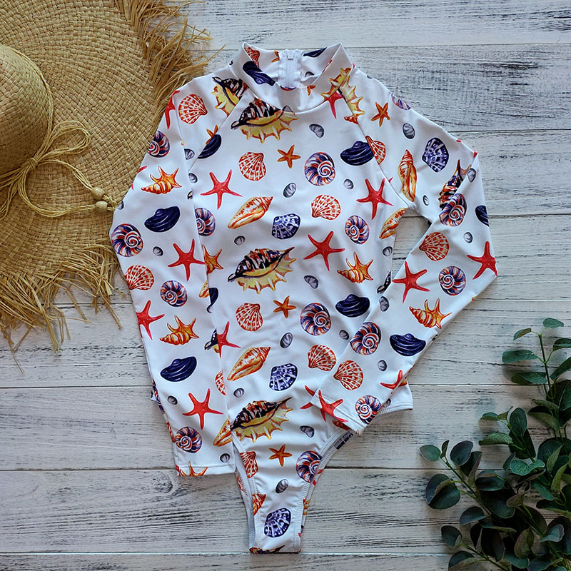 Цельный купальник с геометрическим принтом, одежда для плавания с длинным рукавом, женский купальный костюм, ретро купальник, винтажный Цельный купальник для серфинга - Цвет: BY19432W1
