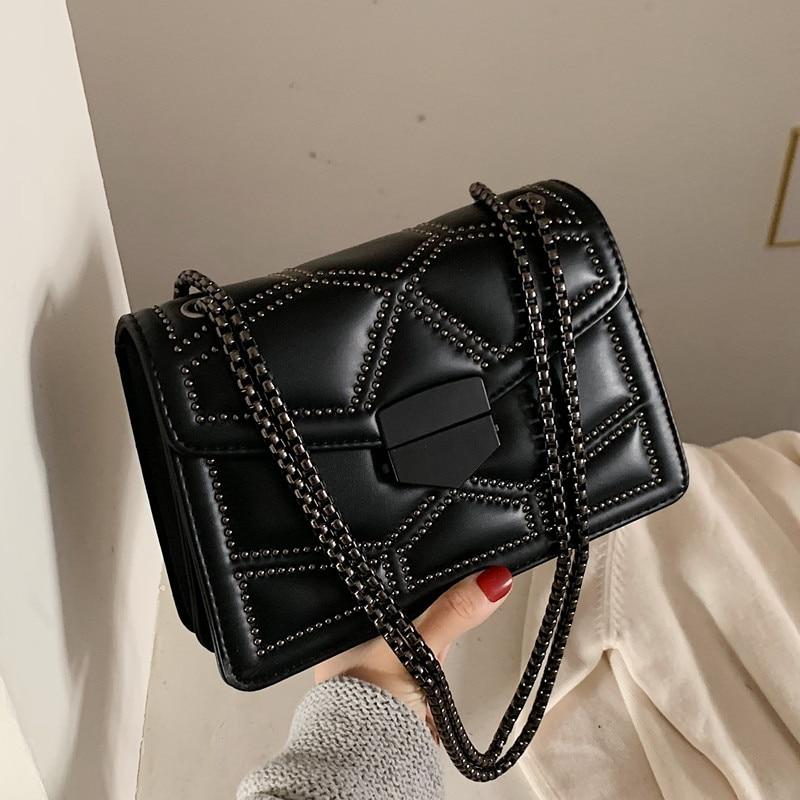Vintage Small Rivet Flap Chain Shoulder Messenger Crossbody Bags Women Handbags Fashion Ladies Clutch Casual Totes Female Purse