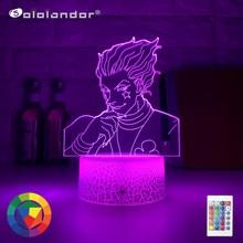 Veilleuse 3D colorée pour chambre d'enfants à LED avec capteur tactile, lumière de nuit, thème anime Hunter X Hunter, décoration, lampe, gadgets Hisoka