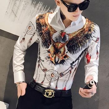 2019 Fashion Designer 3D Eagle Printed Shirt Men's Petticoat Fashion Men's Social Club Shirt Men's Street Clothing Shirt Camisa