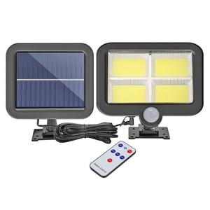 128 LED IP65 LED Solar Wall Light Remote Control Motion Sensor Outdoor Garden Lamp Pathway Yard Street Lamp