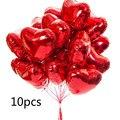 Воздушные шары 18 дюймов, фольгированные надувные шары в форме сердца, розового золота, красного, белого, зеленого, синего, фиолетового, розов...