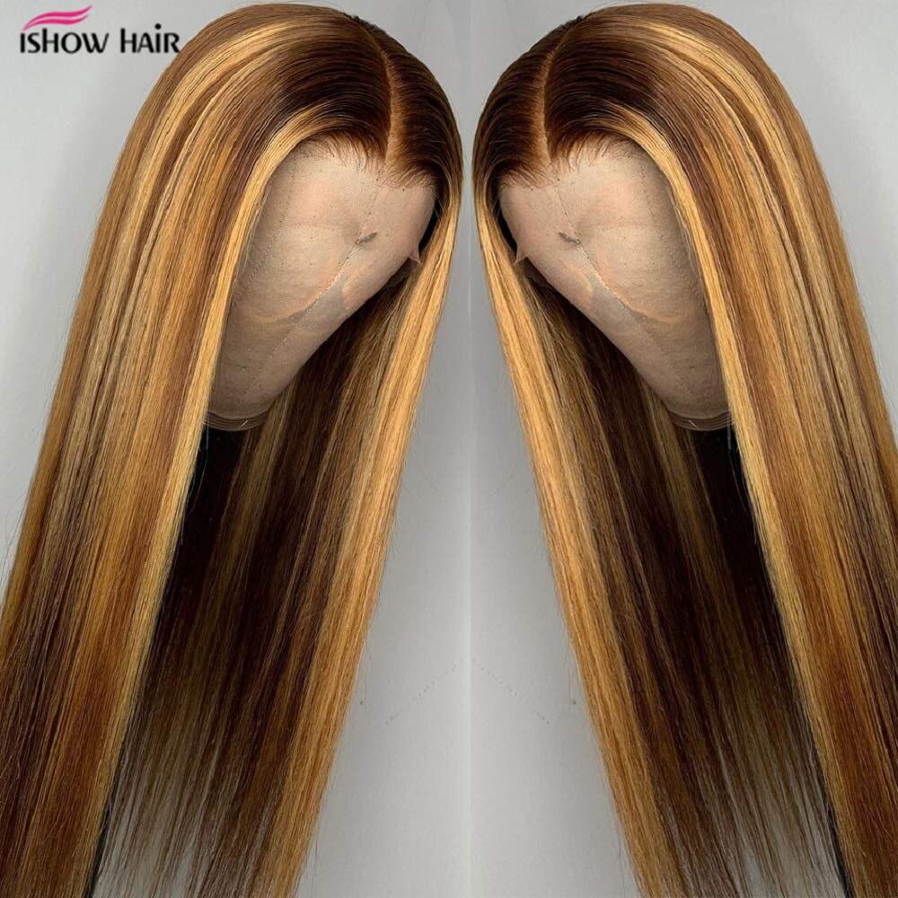 Ishow destacar HD peluca Frontal de encaje cabello humano Marrón frente de encaje pelucas de cabello humano para las mujeres negras indio Ombre rubia peluca recta