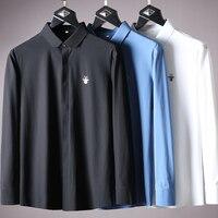 JSBD luxury pendant easy on press all around elastic non mark pressure adhesive men's slim shirt business casual shirt
