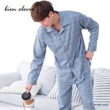 Pijamas de algodão conjunto para homens casual casa roupas outono inverno pijamas terno de manga cheia calças compridas listrado conjunto