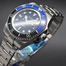 Bliger 44mm black dial Ceramic Bezel  Mechanical Watch Luminous Marks Automatic Movement Men's Watch 46mm bliger blue dial date luminous marks sub automatic mens wrist watch