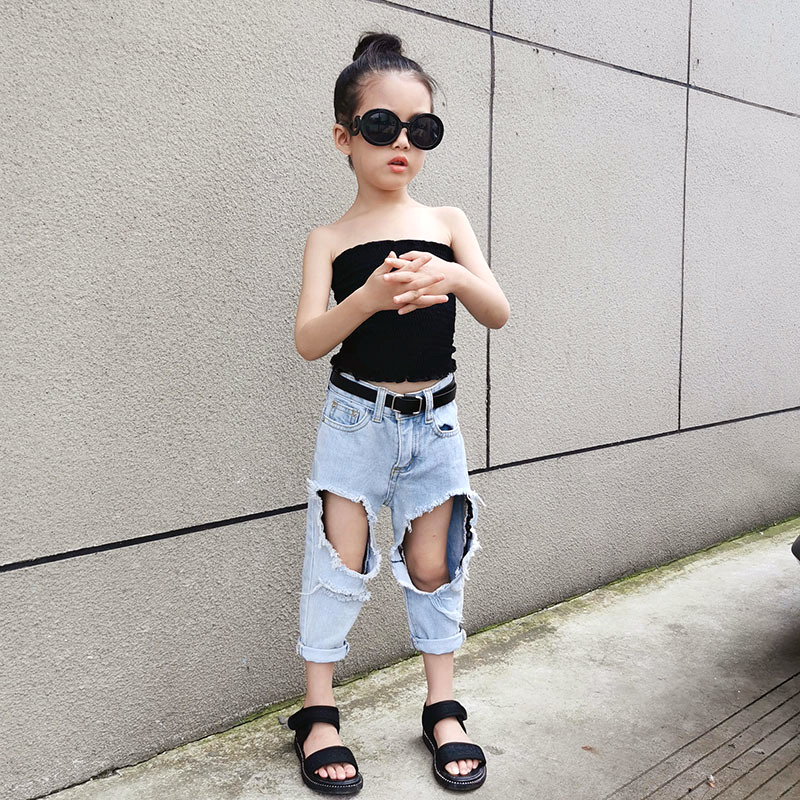 Summer girls jeans baby denim pants kids cropped trousers children streetwear capri double big hole elastic soft 3 to 12 yrs