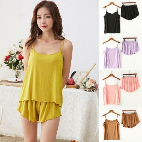 Women's Sleepwear Babydoll Lingerie Nightwear Tank Top + Shorts Pjs Pyjamas Set Soft Comfortable Wearing Women Clothes