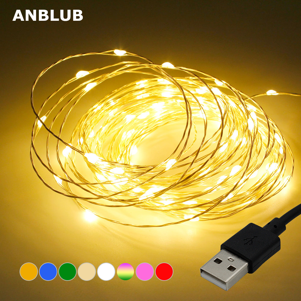 ANBLUB 5M 10M Copper Silver Wire USB LED String lights Waterproof Holiday lighting For Fairy Christmas Wedding Party Decoration