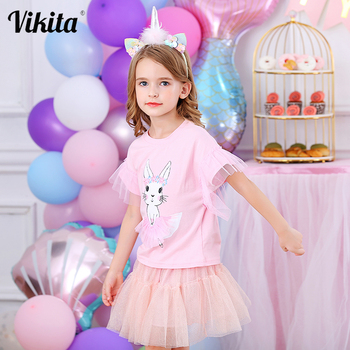 VIKITA T Shirt for Girls Sequins Kids T-shirts Summer Children Sequined Cartoon T Shirt  Toddlers Clothes for Girls Cotton Tops danganronpa v3 children t shirt 100% cotton breathable t shirt s 3xl code children t shirts 2018 latest tide children summer