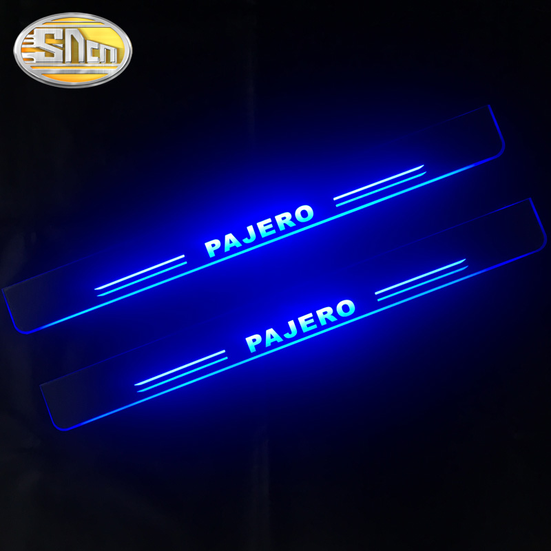 SNCN 4PCS Acrylic Moving LED Welcome Pedal Car Scuff Plate Pedal Door Sill Pathway Light For Mitsubishi Pajero 2015 2016 2017