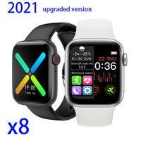 Reloj inteligente X8 con Bluetooth, pulsera de Fitness con Monitor de ritmo cardíaco, papel tapiz, reloj deportivo inteligente personalizado para IOS y Android, 2021