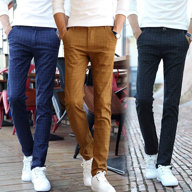 2016 Spring And Summer-Teenager Plaid Casual Pants Men's Cotton Linen Slim Fit Elasticity Skinny Pants Men's Trousers Long Pants