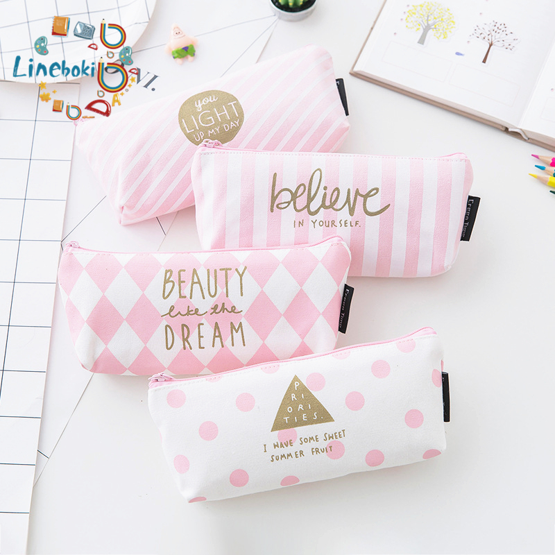 1 Pcs Kawaii Pu Pencil Case Pink Gift Estuches School Pencil Box Pencilcase Pencil Bag School Supplies Stationery