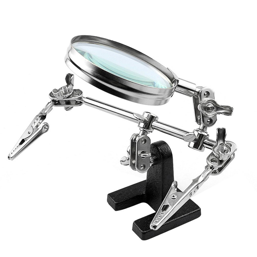 Helping Third Hand Tool Soldering Stand With 5X Welding Magnifying Glass 2 Alligator Clips 360 Degree Rotating Adjustable