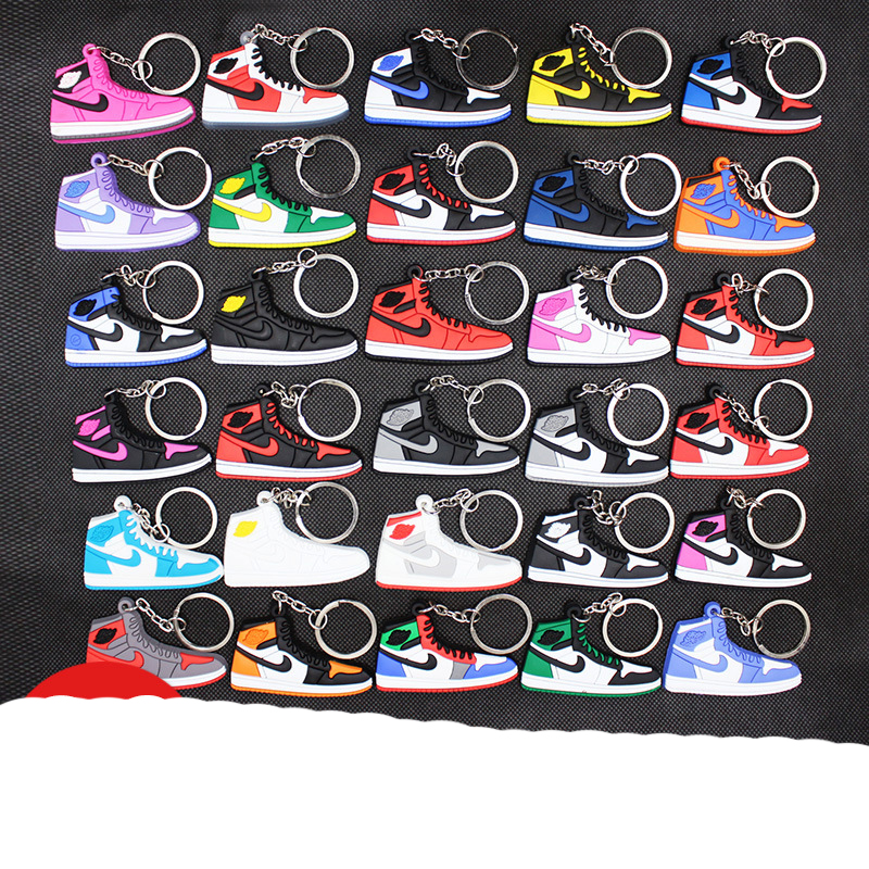 Free Shipping Color Mini Silicone Key Chain Bag Charm Children's Key Ring Gift Sneaker Key Clip Accessories Shoes Key Chain