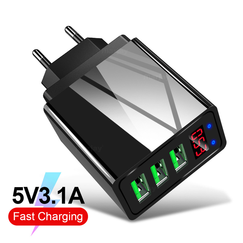 3 USB Charger 5V 3.1A Quick Charge with Digital Display Fast Charging For iPhone 11 Samsung S20 Phone Wall Adapter EU US UK Plug image