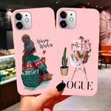 Год Рождество Босс кофе Vogue Девушка Розовый силиконовый карамельный чехол для iPhone 11 Pro Max Xs 6S 7 8 Plus X XS Max XR